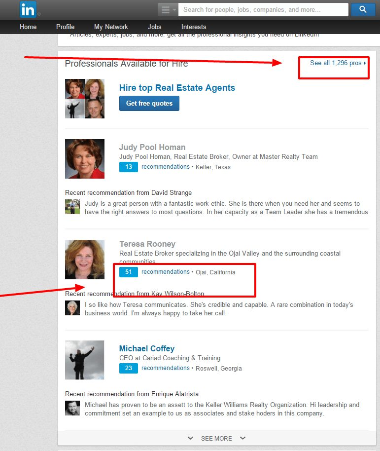 Top results for LinkedIn's real estate agents.