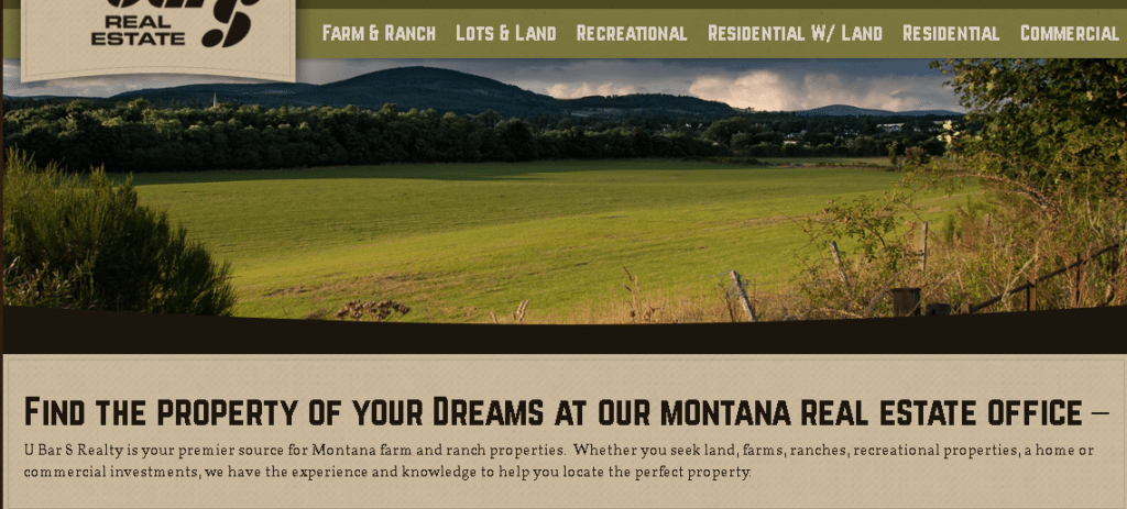 Real Estate Tagline | Find the property of your dreams. This screen capture shows the tagline being used on a Montana Real Estate Website. #realestate #taglines