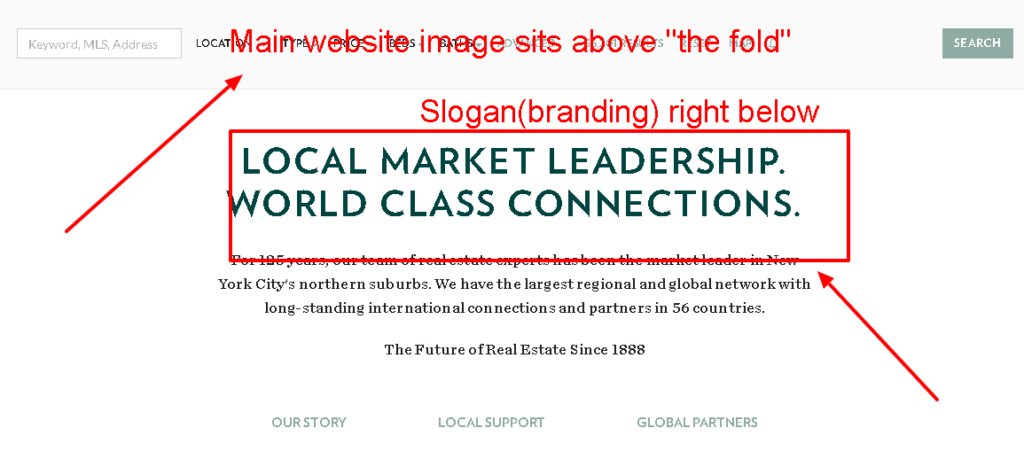 Houlihan Lawrence   Image of their Real Estate Slogan being used on their corporate website. #9 of 50 visual examples of real estate branding.