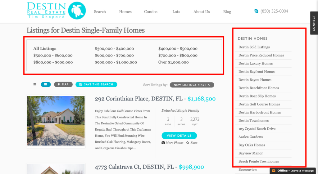 a non-mobile responsive webpage built by a real estate seo company